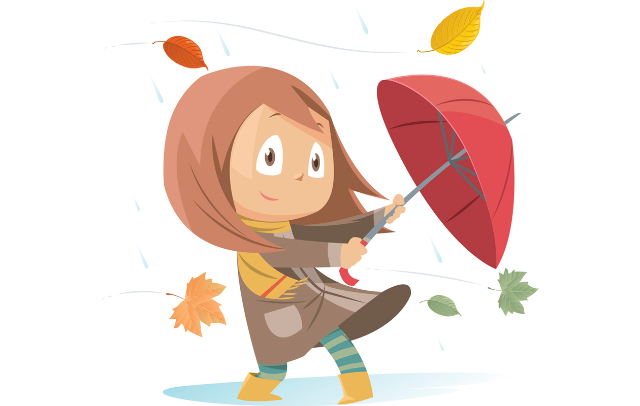tyttö sadesäässä
