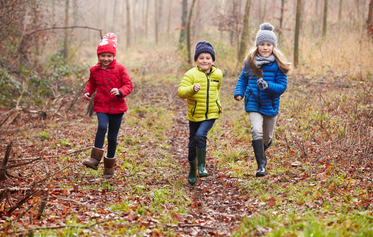 lapsia syksyisessä metsässä