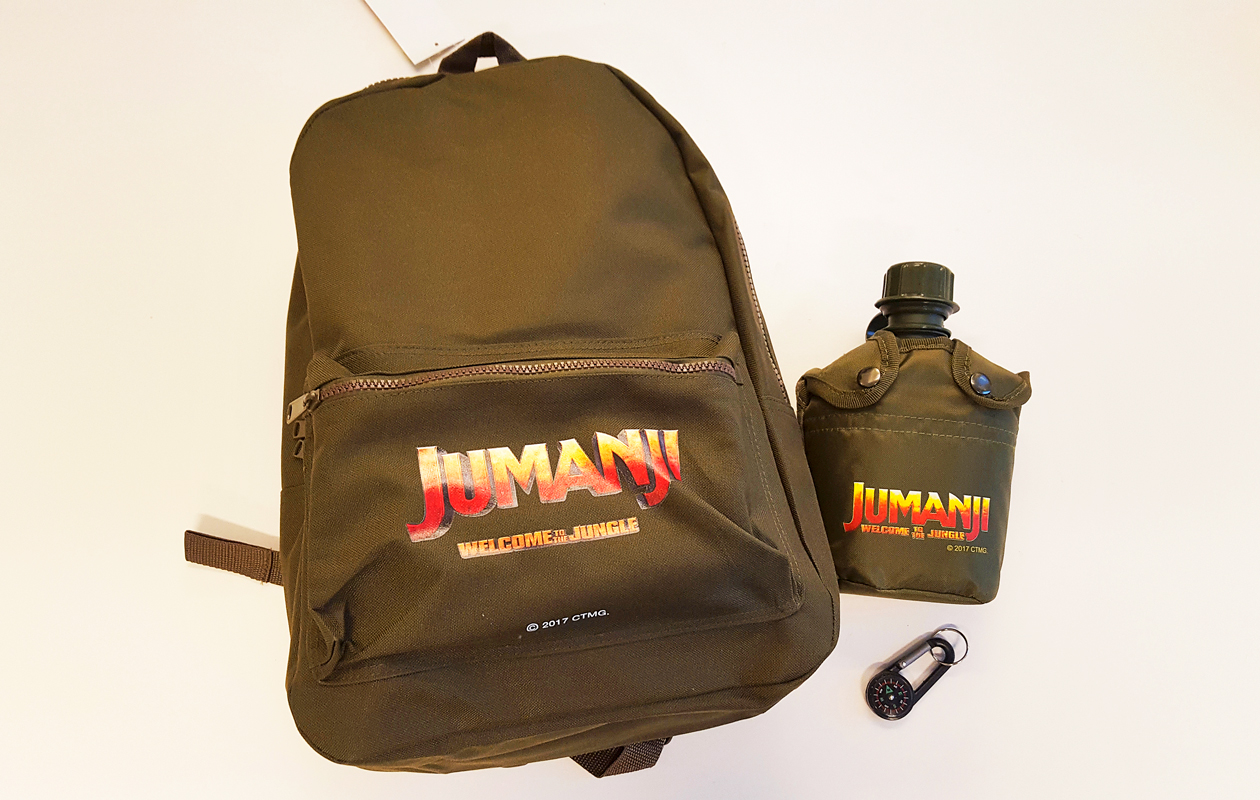 Jumanji-reppu, -pullo ja -avaimenperä