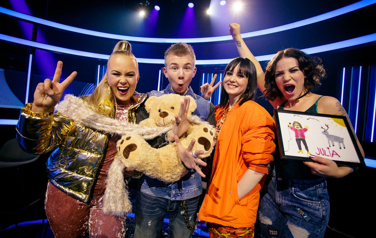 Idols-semifinalistit Tiia Laakso, Leevi Salonen, Anniina Timonen ja Julia Rautio