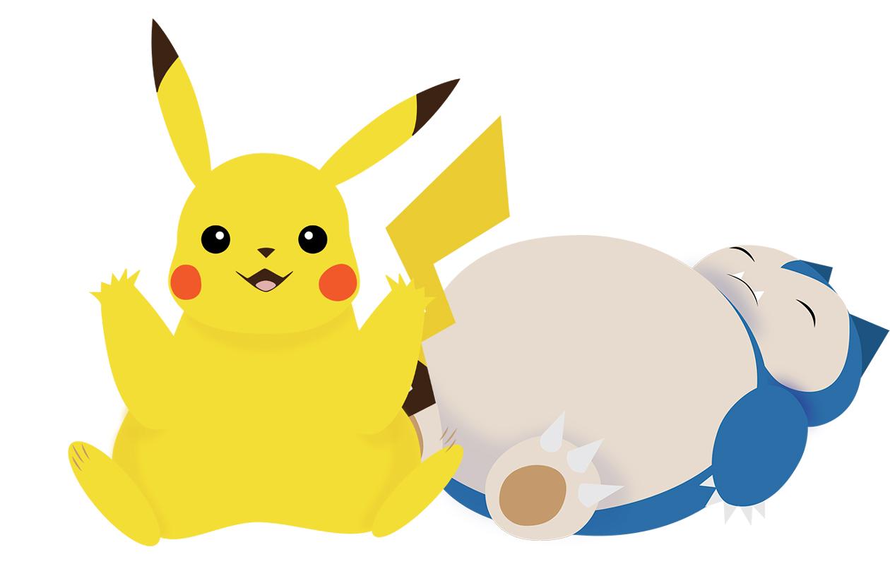 Pokemoneja: Pikachu ja Snorlax