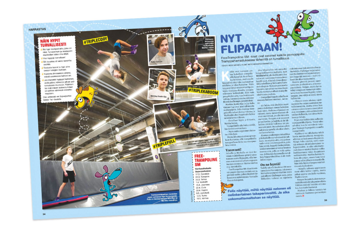 Free trampoline SM -kisojen juttu Koululaisessa