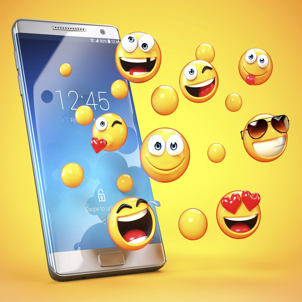 emojit hyppivät ulos älypuhelimesta